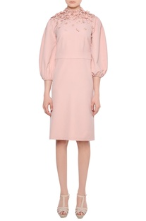 Peach 3D floral embroidered heavy crepe dress