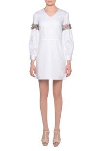 White glazed cotton short dress with bishop sleeves