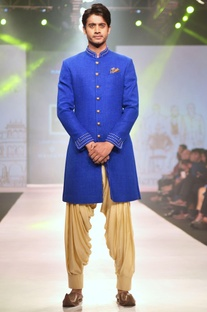 Royal blue achkan jacket