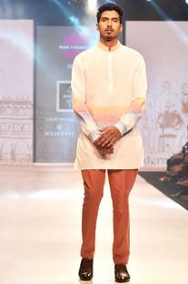 White & pink linen short kurta