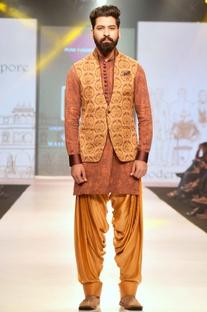 Brown rust printed linen silk half jacket