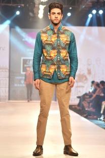 Multicolored printed linen nehru jacket