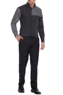 Black & white cotton striped shirt