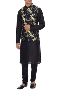 Navy blue, lime & pink rayon nehru jacket