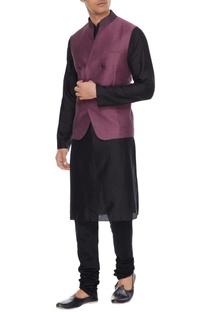 Lavender melange linen blend nehru jacket