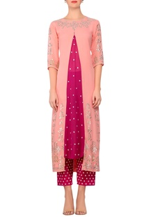 Light pink gota embroidered straight kurta with magenta embroidered work pants