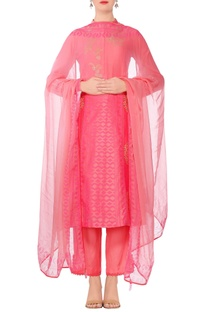 Coral pink embroidered straight kurta with slim fit pants & dupatta