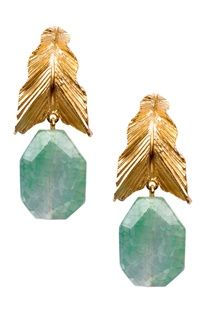 Green brass banded agate leaf drop earring