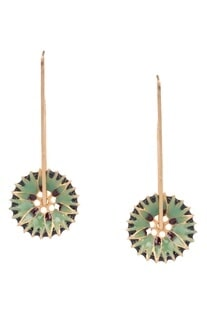 Green brass flower shaped dangler earrings