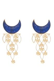 Blue brass synthetic half moon earring