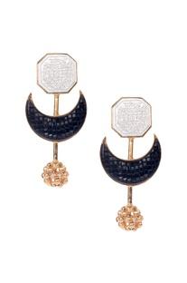 Black brass moon earring