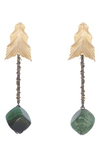 Green brass onyx leaf gemstone earring