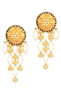 Golden brass flower jali earring