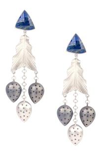 Silver brass peruvian blue opal gemstone leaf dangler earrings