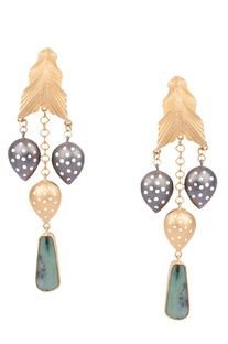 Golden brass peruvian blue opal leaf and drop dangler earrings