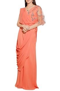 Burnt orange georgette silk embellished saree gown