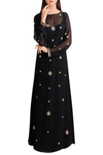 Black gold georgette embellished gown