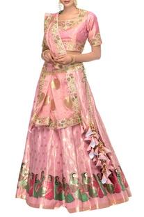 Pink resham & zardozi embroidered lehenga with blouse & tissue dupatta