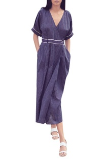 Navy blue pinstripe hand-woven cotton wrap dress with tie-up belt