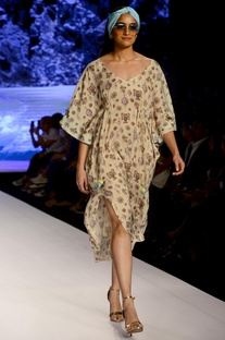 Powder yellow printed kaftan dress
