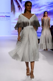 Ivory & grey box pleated midi dress