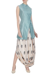 Blue & beige silk overlap jacket with printed draped skirt