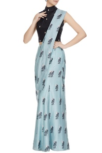 Teal blue & black concept saree with attached pants, drape & blouse