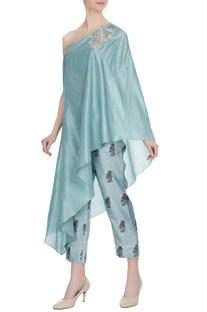 Teal blue one-shoulder kurta with cigarette pants