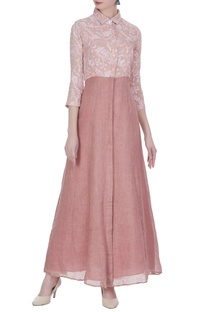 Thread embroidered long maxi dress