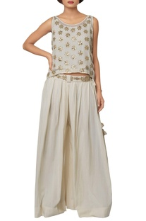 Ivory silk georgette, viscose crepe & cotton silk hand embroidered kurta with palazzos & embroidered belt
