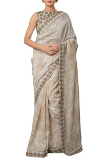 Cream silk chanderi & khadi silk hand embroidered saree with gold antique zardozi work blouse