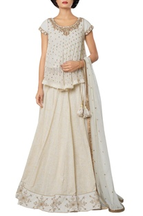 Ivory silk georgette, khadi cotton & net self printed lehenga with embroidered blouse & dupatta