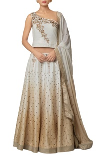 Ivory silk chanderi, khadi silk & viscose georgette shaded lehenga with zardozi embroidered blouse & shaded dupatta