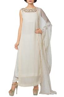 Ivory silk georgette, viscose crepe & net embroidered kurta with churidar & dupatta