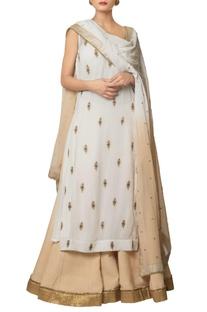 Multi-colored viscose georgette & chanderi silk embroidered buti long kurta with shaded lehenga & embroidered dupatta
