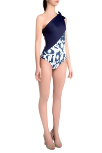 Sapphire italian jersey izu juno printed one-shoulder neck maillot with bow