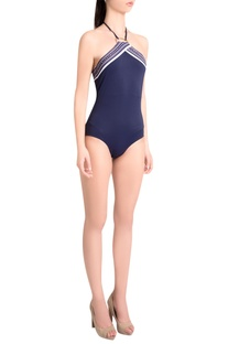 Sapphire italian jersey halter neck maillot with iconic detailing