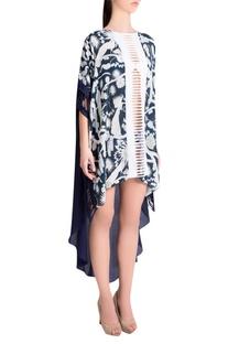 White & sapphire printed crepe & italian jersey izu juno kaftan high-low dress