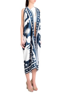 White silk satin izu juno printed scarf with iconic detailing