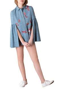 Denim cape shirt with frill sleeves