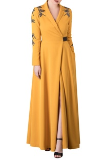 Embroidered sleeves jacket style wrap dress