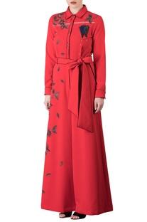 Red umbrella & leaf motif embroidered jumpsuit