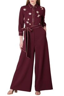 Plum barbie crepe jumpsuit with tie up belt