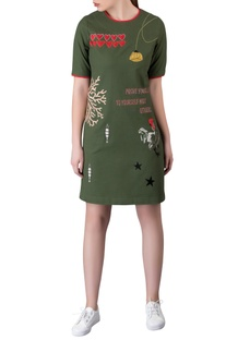 Olive green gabardine mini dress