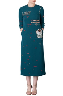 Emerald mid dress with hand embroidered book motifs