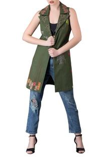 Green sleeveless jacket