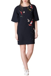 Black t-shirt dress in chilly embroidered motifs