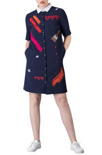 Blue shift dress in 'paintbrush' themed hand embroidery