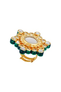 Oversized floral statement ring with kundan