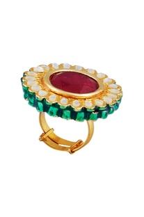 Kundan & faceted stone embellished statement ring
